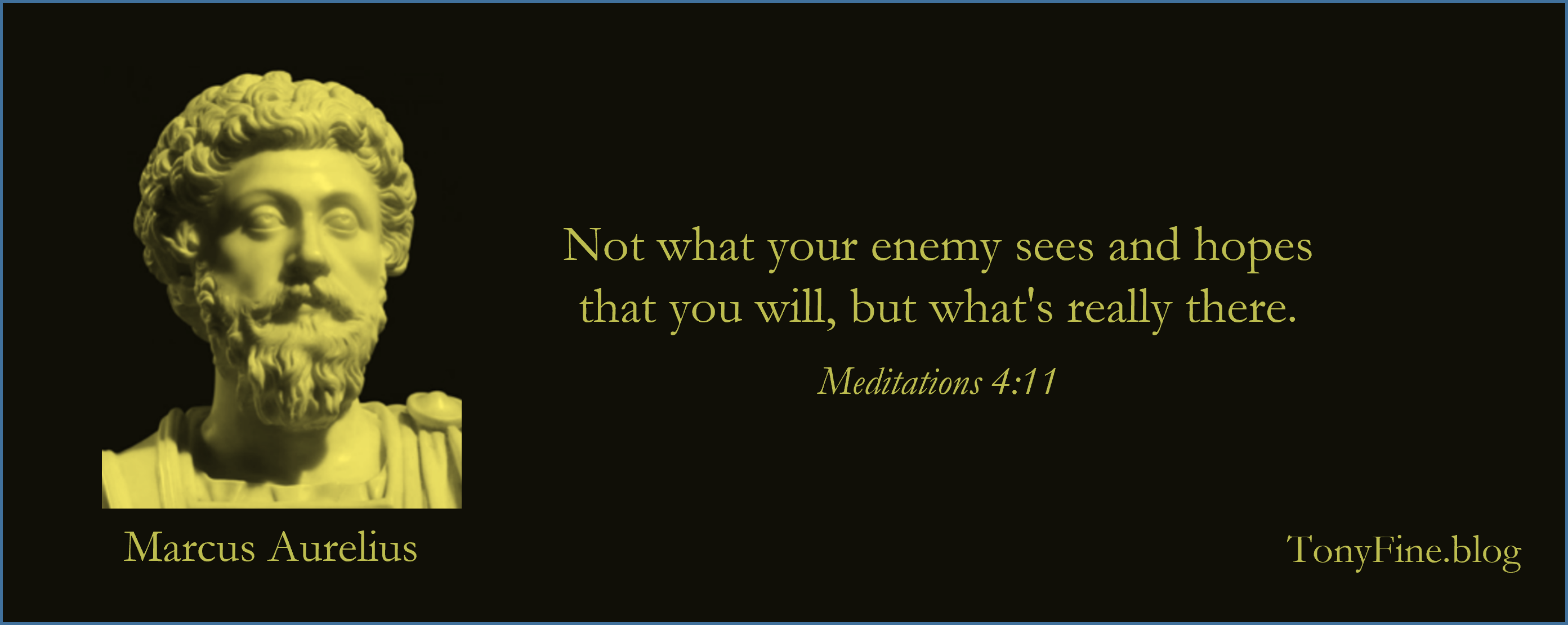 Not what your enemy sees and hopes that you will, but what's really there. -Marcus Aurelius